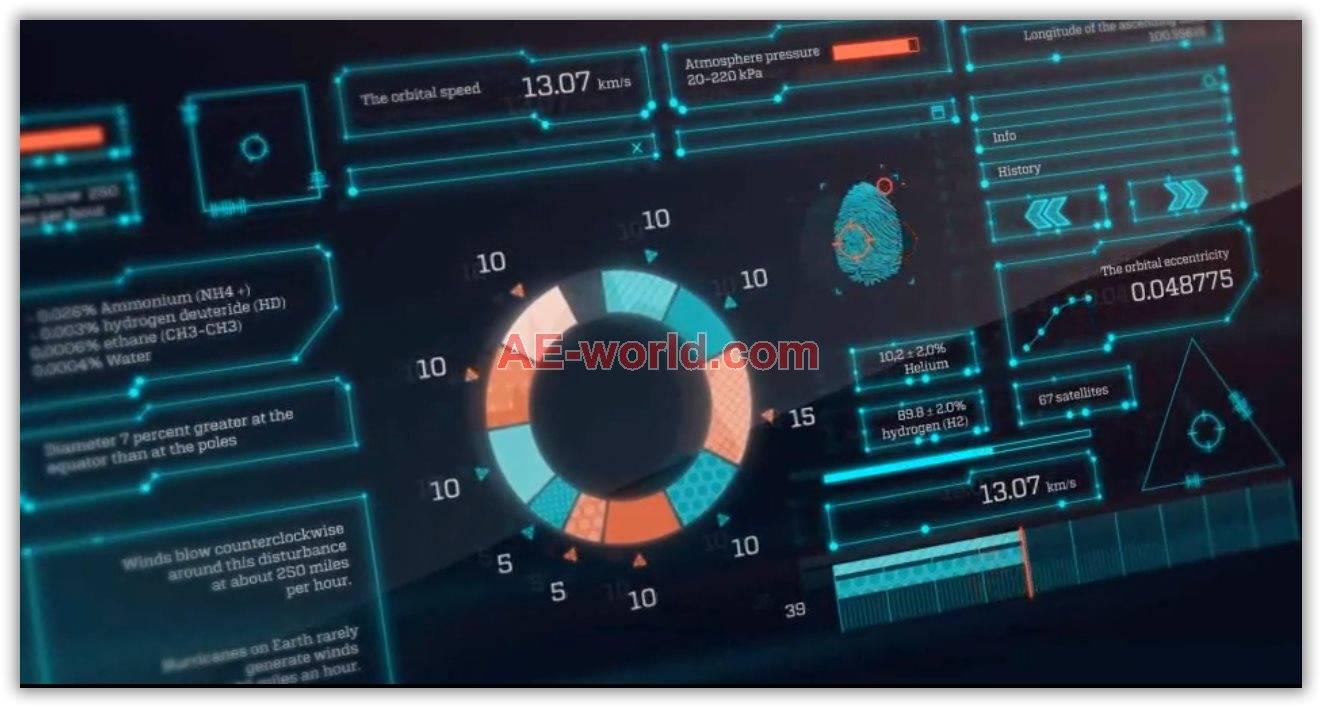 科技UI界面Hud元素特效合成素材包AE模板