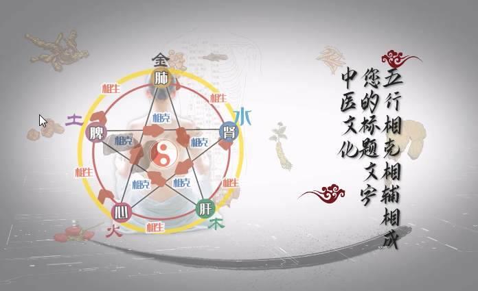 中医五行之道养生原理AE模板 logo/片头-第1张